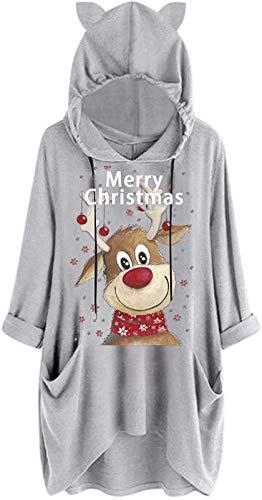 XXHDEE Sudaderas con capucha para mujer Reino Unido, Santa Claus de las mujeres Reindear alces Impresas de manga larga Tops Blusa Camiseta Jumper T-shirt Divertido Túnica Pullover Sudadera Mini vestid