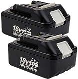 2 piezas 18V 5.5Ah BL1850 batería de repuesto para Makita 18V Li-ion BL1850B BL1850 BL1860B BL1860 BL1840B BL1840 BL1830 BL1835 BL1845 194204-5 LXT-40000