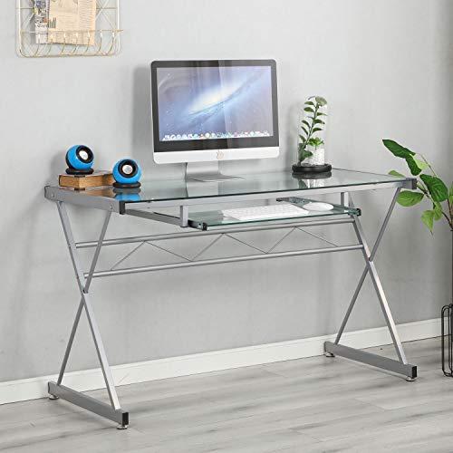 DlandHome Glas Schreibtisch Computertisch mit Tastaturablage 120 * 55 * 74.5CM Tisch für Hause und Büro mit modernen Aussehen aus hochwertigem durchsichtigem und Metallframe