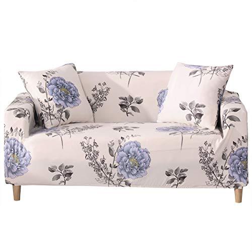 Bedruckter Sofabezug, Loveseat Couch Stretch Stoff Sofa Schonbezüge Möbelschutz mit elastischer Unterseite & Anti-Rutsch-Schaumstoff (#2, 3-Sitzer)