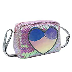 Pink & White Sequins Crossbody Heart-shaped Shoulder Handbag