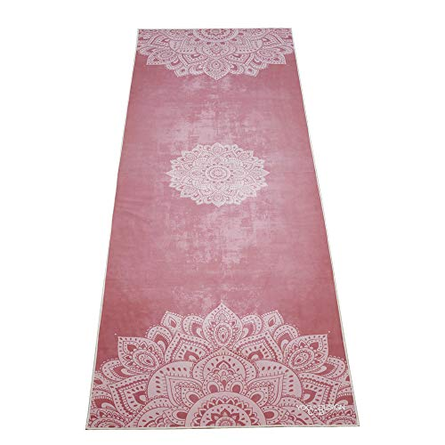 Yoga Design Lab | De Power Grip Yoga Handdoek | Premium Niet Slip Kleurrijke Handdoek | Eco Printed + Quick Dry + Mat Sized | Ideaal voor Hot Yoga, Bikram, Sport, Reizen
