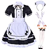 Japanese Anime sissy Cosplay Sweet Classic Lolita Fancy Apron Maid Dress with socks gloves set (Black)(M = Asia L)(NY01)