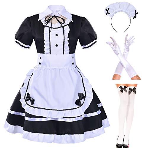 Japanese Anime sissy Cosplay Sweet Classic Lolita Fancy Apron Maid Dress with socks gloves set (Black)(S = Asia M)(NY01)