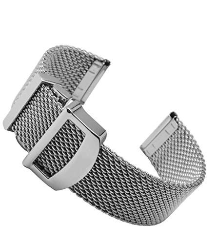Reemplazo de la Correa del Reloj, Accesorios del Reloj Cinturón de Malla 20 mm 22 mm Correa de Reloj de Acero Inoxidable de Calidad Pulsera de Repuesto Compatible con Ajuste