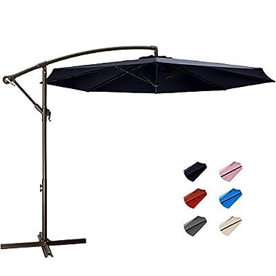 KITADIN Offset Umbrella - 10Ft Cantilever Patio Hanging Umbrella,Outdoor Market Umbrellas with Crank Lift & Cross Base (10 Ft, Navy)