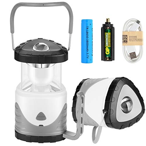Preisvergleich Produktbild MojiDecor Campinglampe LED Zeltlampe 2 in 1 Tragbare Laterne Taschenlampe Suchscheinwerfer wiederaufladbar RGB Farbwechsel Campingleuchte für Camping Outdoor Wandern