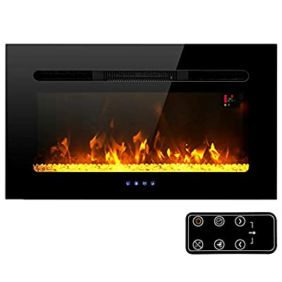 MFSTUDIO Electric Fireplace, 30 inch Fireplace Heater Recessed and Wall Mounted Low Noise with Touch Screen Remote Control and Timer, 1500W