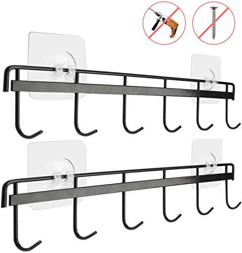 Yizhi Adhesive Wall Hooks Rack Kitchen Rail, Space Saving Wall Hanger No Drilling Wall Mounted Accessory Hanger with 6 Hooks for Kitchen Bathroom Bedroom Closet Pack of 2 (Black)