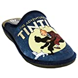 Salvi Confort 09T-351 - Zapatillas de Estar por Casa Chico Hombre de Las Aventuras de Tintin - 40, Azul Marino