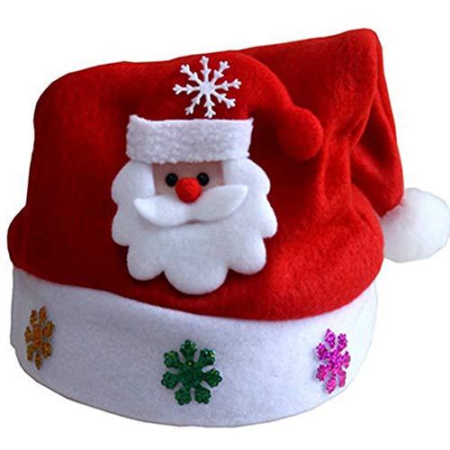 TREESTAR Natale Cappelli Christmas Hat Cappello di Lana Unisex Natale Accessori cap Cappello di Babbo Natale per Adulti e Bambini Adulti Festa di Compleanno Festa di Natale Decorazione del Partito
