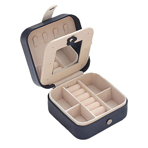 SMEJS - Organizador de caja de joyería, cuero de PU, caja de almacenamiento de joyería con tablero para pendientes, exquisito pequeño organizador de viaje portátil para anillos, pendientes, colla