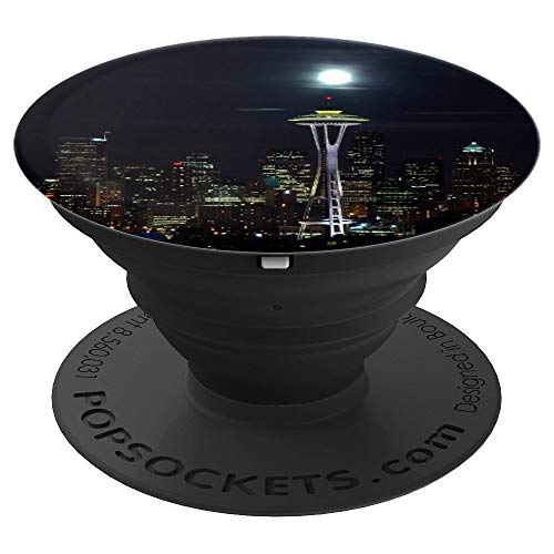 Seattle Washington City Space Needle at Night Full Moon PopSockets Grip and Stand for Phones and Tablets