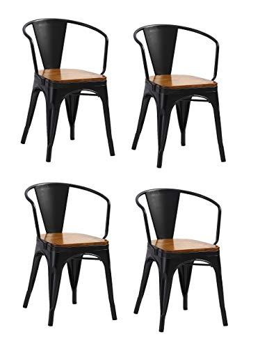 SAM 4er Set Metallstuhl Lena, Schwarz matt, Sitz aus massivem Pinienholz, Esszimmerstuhl im Industrial-Design, stapelbarer Bistrostuhl mit Armlehne