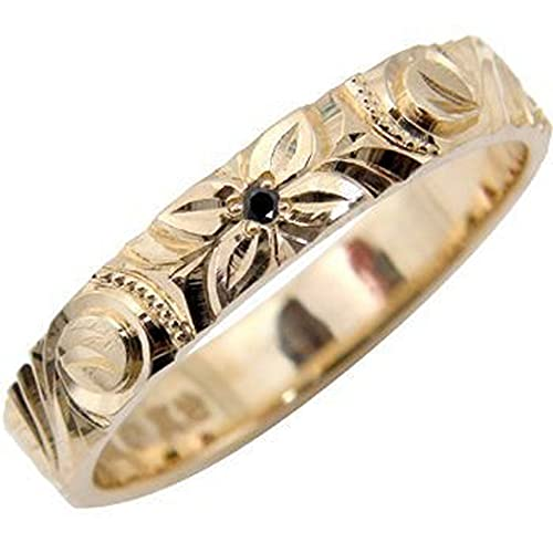 [アトラス]Atrus リング メンズ 18金 ピンクゴールドK18 ブラックダイヤモンド ハワイアンジュエリー 指輪 手彫り ストレート 22号