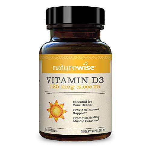 NatureWise Vitamin D3 5000iu (125 mcg) Gluten Free in Cold-Pressed Organic Olive Oil, No Artificial Color, 90 Count (Pack of 1)