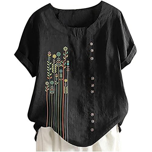 AMhomely Camisas y blusas para mujer, tallas grandes, estilo informal, con cuello en O, con botones sueltos, blusa tipo túnica, blusa para oficina, talla Reino Unido