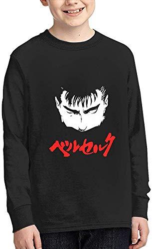 Be-rserk Boy Sports Shirt Long Sleeve Pullover Round Neck Fashion T-Shirt,Black,Large