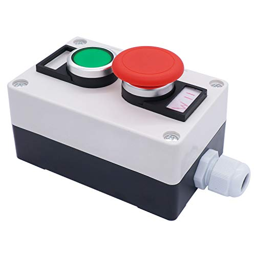 TWTADE/Green Momentary Pushbutton Switches, Red Mushroom Head Momentary Switch Push Button Station Box 440V 10A (Quality Assurance for 3 Years) hz-11GM