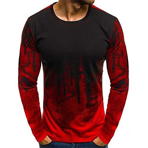 SFYZY Herren lässig Langarm Top Mode Sport Fitness Persönlichkeit Kontrastdruck T-Shirt Sommer Dünne Langarm Oberbekleidung