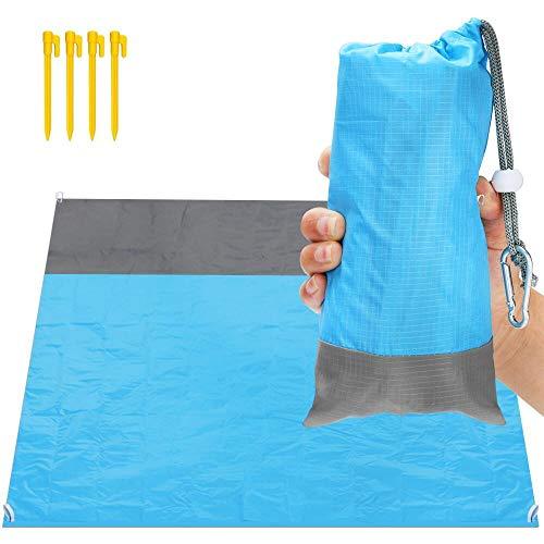 ASANMU Stranddecke Ultraleicht, Picknickdecke wasserdichte 210 x 200 cm Sandabweisend Strandmatte Leicht Faltbare tragbare Taschendecke Übergroße Outdoor Campingdecke Reisen mit 4 Pfosten und Tasche