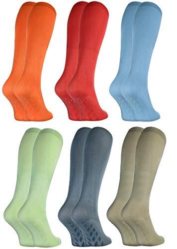 Rainbow Socks - Damen Herren Bunte Bambus Kniestrümpfe ABS - 6 Paar - Orange Rot Blau Grün Jeans Olive - Größen 39-41