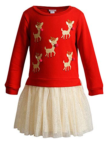 Youngland Girls' Character Fleece Top with Glitter Mesh Skirt and 3D Applique Dress, Red/Gold, 5
