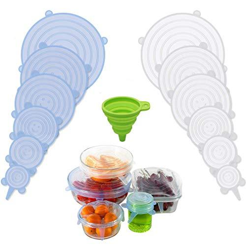 ROTTAY Coperchi di Silicone Stretch, 13 Pack di Diverse Dimensioni Coperchio in Silicone per Alimenti, Riutilizzabile ed Espandibile Coperchio per Tazza per Pentole e Freezer - BPA Free