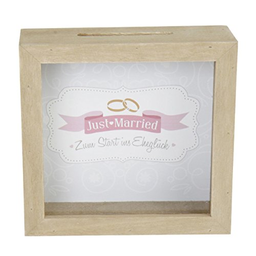 Spardose Holz Bilderrahmen 'Just married' braun