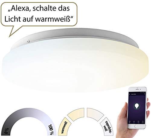 Luminea Home Control Deckenlampe: WLAN-LED-Deckenleuchte für Amazon Alexa & Google Assistant, CCT, 24 W (WLAN-Lampen Alexa)