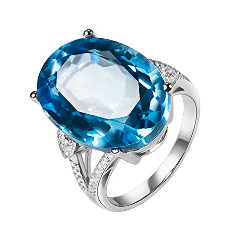 Aeici Rings Oro blanco 18k, Alianzas De Matrimonio Topacio Diamante 18.51ct, Ovalada, Talla 6,75