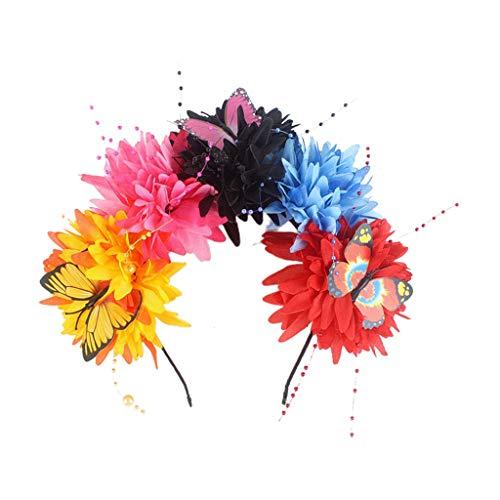 Serre-tête d'Halloween, chrysanthème artificiel, couronne de fleurs, couronne de fleurs colorée, papillon et chaîne de perles, accessoire de fête du jour des morts