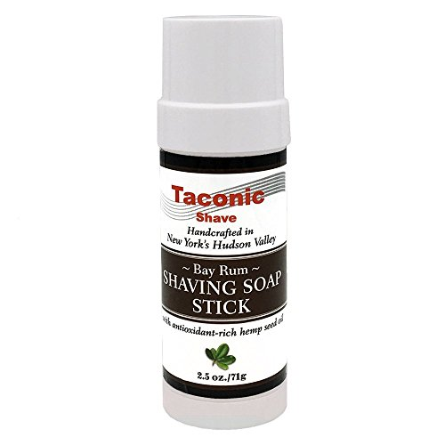 Taconic Shave Bay Rum Shaving Soap Stick with Antioxidant-Rich Hemp Seed Oil 2.5 oz./71g