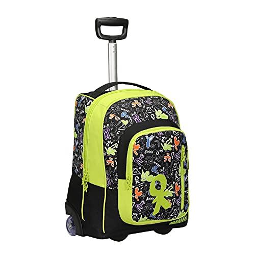 Trolley zaino scuola bambino Doodle nero e verde, con colori vivaci e le sue patch e zip personalizzate. 36L, barra regolabile in due altezze. Perfetto per scuola e viaggio.