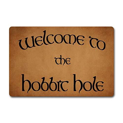 LVOE TTL Lustige Worte Sagen, Willkommen in der Hobbit Humor Polyester Willkommen Fußmatte Teppich Indoor Mats Decor Teppich für Home/Office/Schlafzimmer Skiding-Prooof