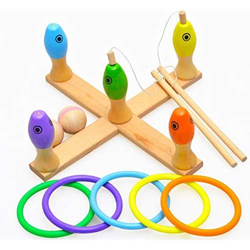 Kinder-Holzspielzeug, Multi-Funktions-Angelspiel, Ring-Spiele, Die Bowlingkugel, Lernspielzeug, 2 3 4 Jahre Altes Mädchen Boy Kinder