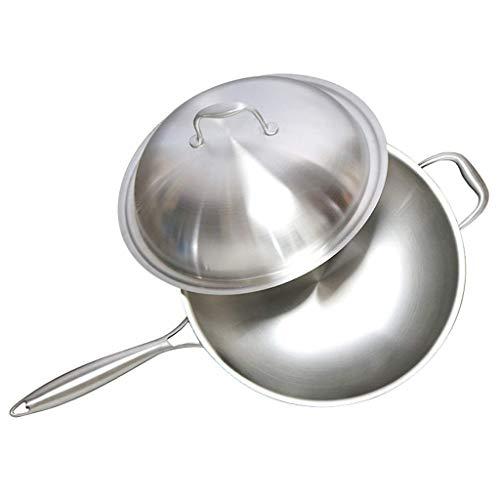 Wok De Fondo Plano De Cocina Asiática, Acero Al Carbono con Tapa Y Espátula para Saltear (Tamaño: 34) Uso Doméstico