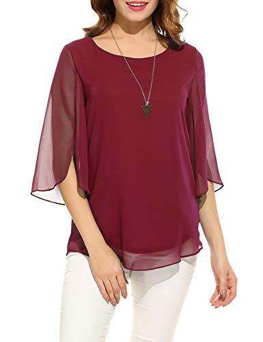 Beyove Damen Shirts lose 3/4 Ärmel Bluse Hemd Chiffon Langarmshirts Oberteile Tops elegant (EU 40(Herstellergröße:L), Weinrot-neu)