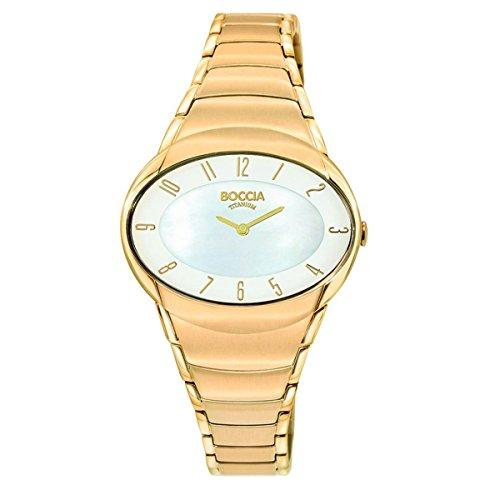Boccia Damen Analog Quarz Uhr mit Edelstahl beschichtet Armband 3255-02