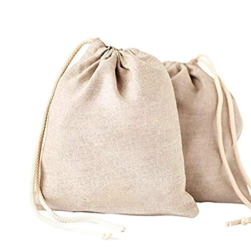 Easy-topbuy 2 Bolsas de algodón orgánico con cordón para Frutas, Bolsas de Almacenamiento respetuosas con el Medio Ambiente, Bolsas de Pan de 25 x 30 x 1 cm