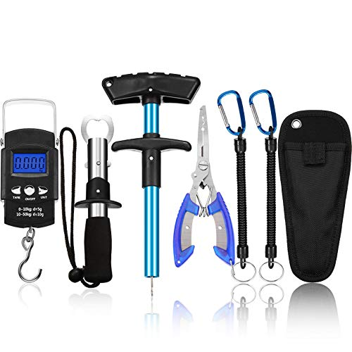 Fish Hook Remover Tools Kit Include 1 Piece Handheld Digital Fish Scale 1 Piece Fish Hook Remover Tool 1 Piece Fish Lip Gripper 1 Piece Fish Plier with Sheath and 2 Pieces Fishing Tool Lanyards