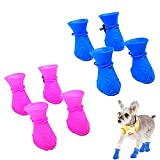 Ahn'Qiraj 8 PCS Puppy Small Dog Shoes Rain Boots, Silicone Candy Colors Rubber Waterproof Anti-Slip Puppy Claw Shoes Paw Cover with Adjustable Rope for Rainy Snow Weather (Blue&Purple)