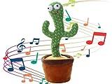 Kellegour Cactus Juguete Baila,Divertido Canto y Baile de Cactus Con 120 Canciones En Inglés,Juguete de Peluche de Cactus Regalo para Niños,Cactus Parlante Regalo para Niños(Grabación+Bailarines+Luz)