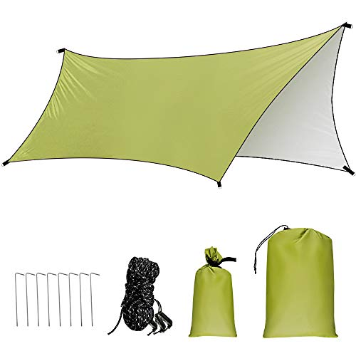 GROOFOO Tarp Camping 10 x 15ft, Waterproof Tent Tarp mit Ropes and Pegs, UV Protection Rainproof Shelter Portable Lightweight Sunshade for Hammock Outdoor Camping (Arm Green)