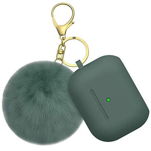 BRG for Airpods Pro Case Cover, Soft Silicone Case Cover with Cute Pom Pom Fur Ball Keychain for Women Girls [Front LED Visible] Olive Green