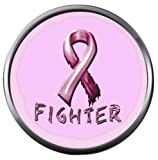 Fighter Pink Breast Cancer Tattered Support Ribbon Awareness Cure Believe 18MM - 20MM Snap Jewelry Charm