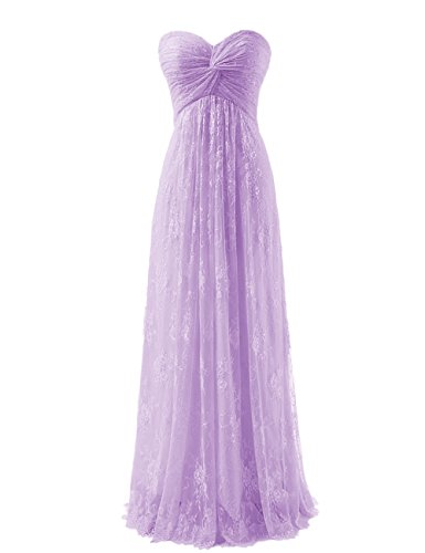Diyouth Long Strapless Lace Flower Bridesmaid Dresses Chiffon Prom Dress Lavender Size 16
