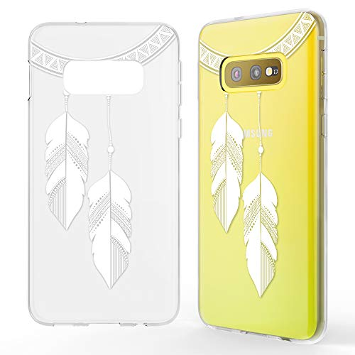 NALIA Hülle kompatibel mit Samsung Galaxy S10e, Motiv Handyhülle Slim Silikon Hülle Cover Schutzhülle Dünn Durchsichtig, Etui Handy-Tasche Backcover Transparent Bumper, Designs:Chain Feathers