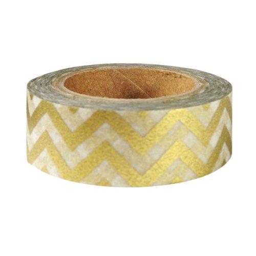 Wrapables Striped Japanese Washi Masking Tape - Gold Chevron
