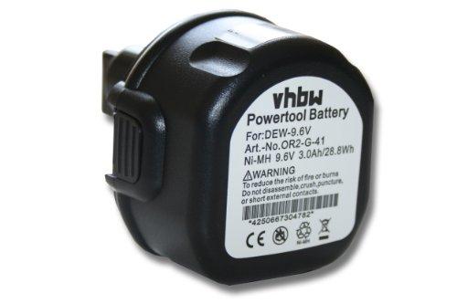 vhbw Batería reemplaza Black & Decker A9251, ELU EZWA29, EZWA30, EZWA37, PS120 para Herramientas eléctricas (3000mAh NiMH 9,6V)